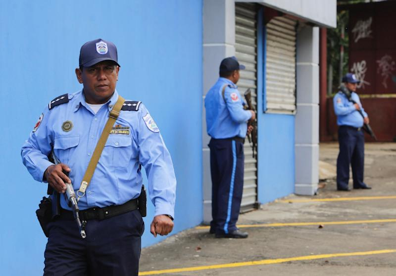Police officers are deployed in Managua on May 23, 2019 during a national strike called by the opposition Civic Alliance