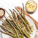 <p>Warm from the oven, these crunchy asparagus spears make a tasty side dish or cocktail nibble. Before being coated in panko breadcrumbs they are rolled in a flavorful sesame-miso sauce that doubles as a simple dipping sauce.</p>