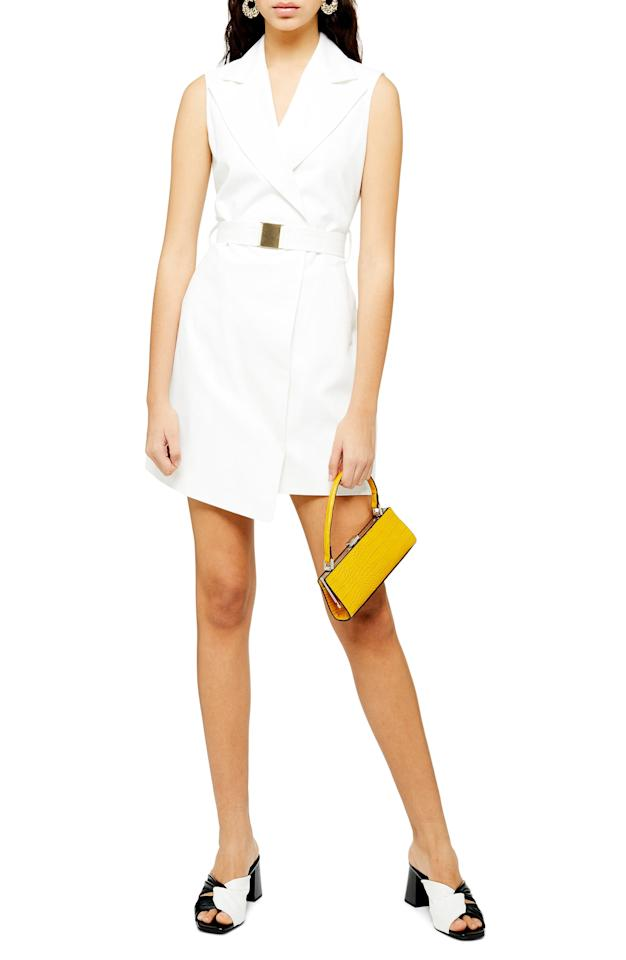 """<p><strong>TOPSHOP</strong></p><p>nordstrom.com</p><p><strong>$125.00</strong></p><p><a href=""""https://go.redirectingat.com?id=74968X1596630&url=https%3A%2F%2Fshop.nordstrom.com%2Fs%2Ftopshop-belted-sleeveless-blazer-dress%2F5340144&sref=http%3A%2F%2Fwww.townandcountrymag.com%2Fstyle%2Ffashion-trends%2Fg28251540%2Fbest-blazer-dresses%2F"""" target=""""_blank"""">Shop Now</a></p><p>A blazer-vest-dress situation is daring and structural, but super warm weather-friendly. </p>"""
