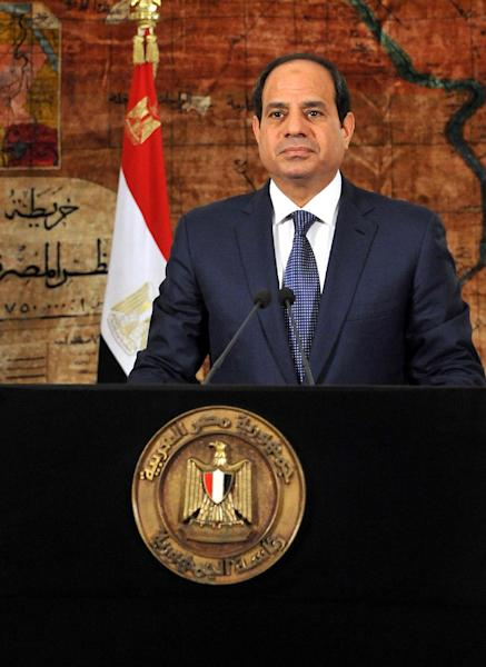 A picture released by the Egyptian Presidency on June 30, 2014 shows President Abdel Fattah al-Sisi in Cairo giving a speech to mark the anniversary of mass protests against then president Mohamed Morsi (AFP Photo/)