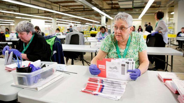 PHOTO: Election worker Ruth Ard opens vote-by-mail ballots for the presidential primary at King County Elections in Renton, Washington, March 10, 2020. (Jason Redmond/AFP via Getty Images)