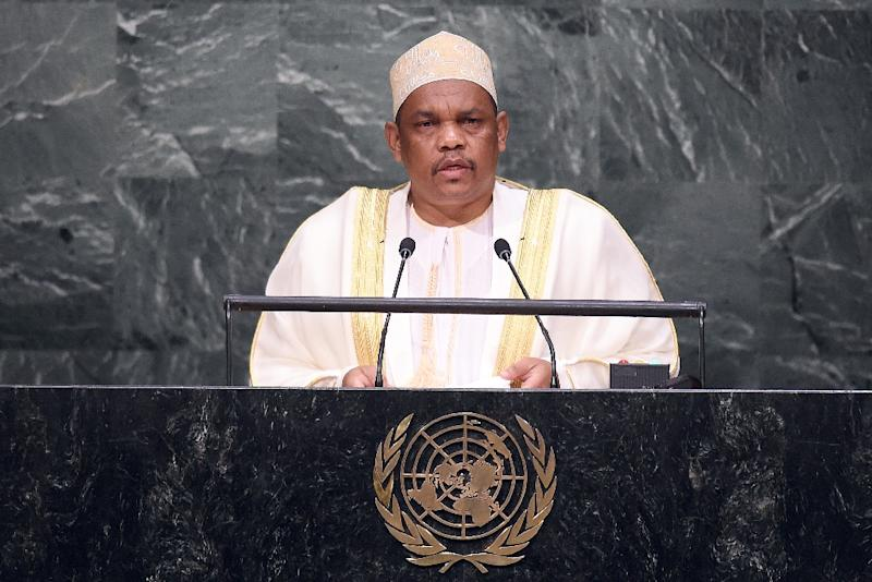 Comoros President Ikililou Dhoinine addresses the United Nations General Assembly at the UN in New York on September 30, 2015