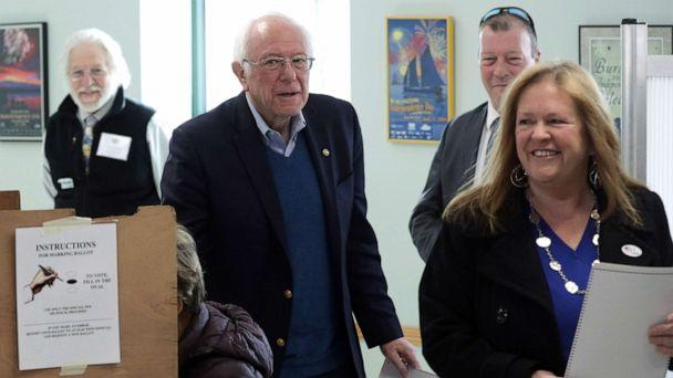 PHOTO:Democratic presidential candidate Sen. Bernie Sanders cast his vote with his wife Jane O'Meara Sanders at a polling place March 3, 2020 at Robert Miller Community Center in Burlington, Vt. (Alex Wong/Getty Images)
