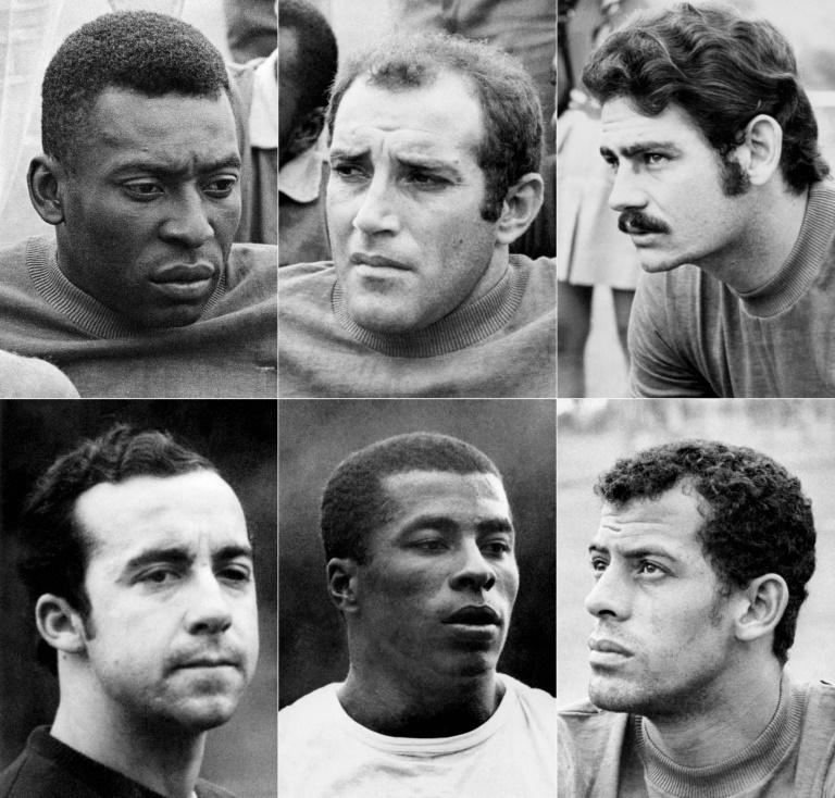 (COMBO) A selection of Brazil players at the 1970 World Cup: (from top left to bottom right) Pele, midfielder Gerson, forward Roberto Rivelino, forward Tostao, forward Jairzinho and defender Carlos Alberto