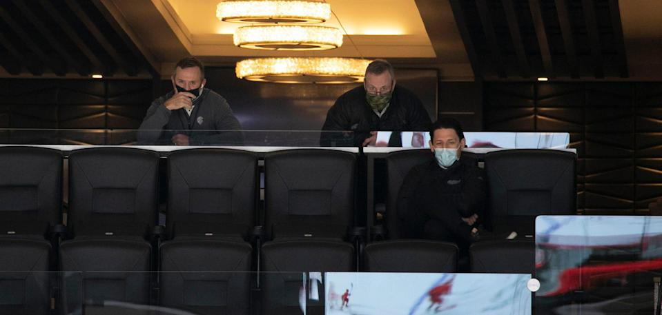 Detroit Red Wings GM Steve Yzerman, left, looks on during a scrimmage Tuesday, Jan. 5, 2021 at Little Caesars Arena in Detroit.