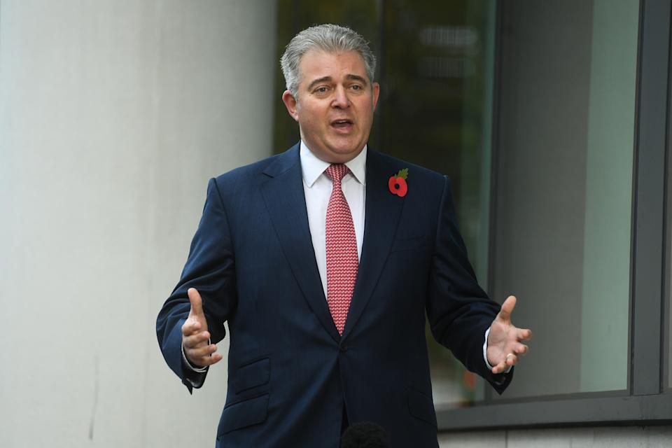 Northern Ireland Secretary Brandon Lewis speaking to the media as he arrives at BBC Broadcasting House in central London before his appearance on the BBC1 current affairs programme, The Andrew Marr Show. (Photo by Kirsty O'Connor/PA Images via Getty Images)