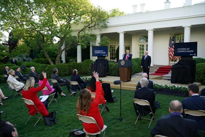 US President Donald Trump takes questions from reporters during a news conference on the novel coronavirus, COVID-19, in the Rose Garden of the White House in Washington, DC on April 27, 2020. (AFP Photo/MANDEL NGAN)