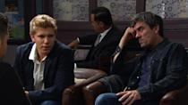 <p>He overhears Robert's conversation with his solicitor. Cain warns Robert that he won't lie to Aaron over his possible prison sentence. </p>