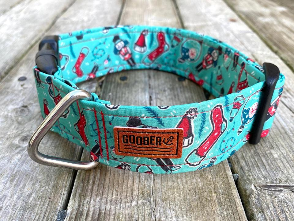 Vintage Christmas Dog Collar by Goober Dog Collars, from $25.