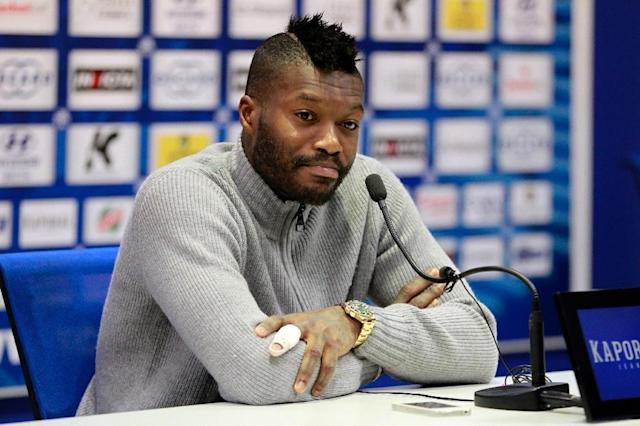 Djibril Cisse speaks during a press conference on April 5, 2014 (AFP Photo/PASCAL POCHARD CASABIANCA)
