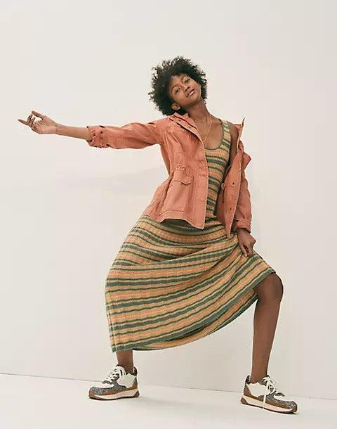 """<h2>Madewell</h2><br>The J.Crew spin-off is one of our readers' most cherished destinations for easy-peasy but seriously cool wardrobe staples. There's a lot to love about the retailer: everything from inclusive sizing to eco-friendly initiatives like a new line of recycled cashmere and a denim recycling program. However, we also admire the brand for plain old good, affordable designs — like this layer-able, fall-ready ribbed knit maxi dress.<br><br><strong>Madewell</strong> Striped Tank Sweater Dress, $, available at <a href=""""https://go.skimresources.com/?id=30283X879131&url=https%3A%2F%2Fwww.madewell.com%2Fstriped-tank-sweater-dress-MA818.html"""" rel=""""nofollow noopener"""" target=""""_blank"""" data-ylk=""""slk:Madewell"""" class=""""link rapid-noclick-resp"""">Madewell</a>"""