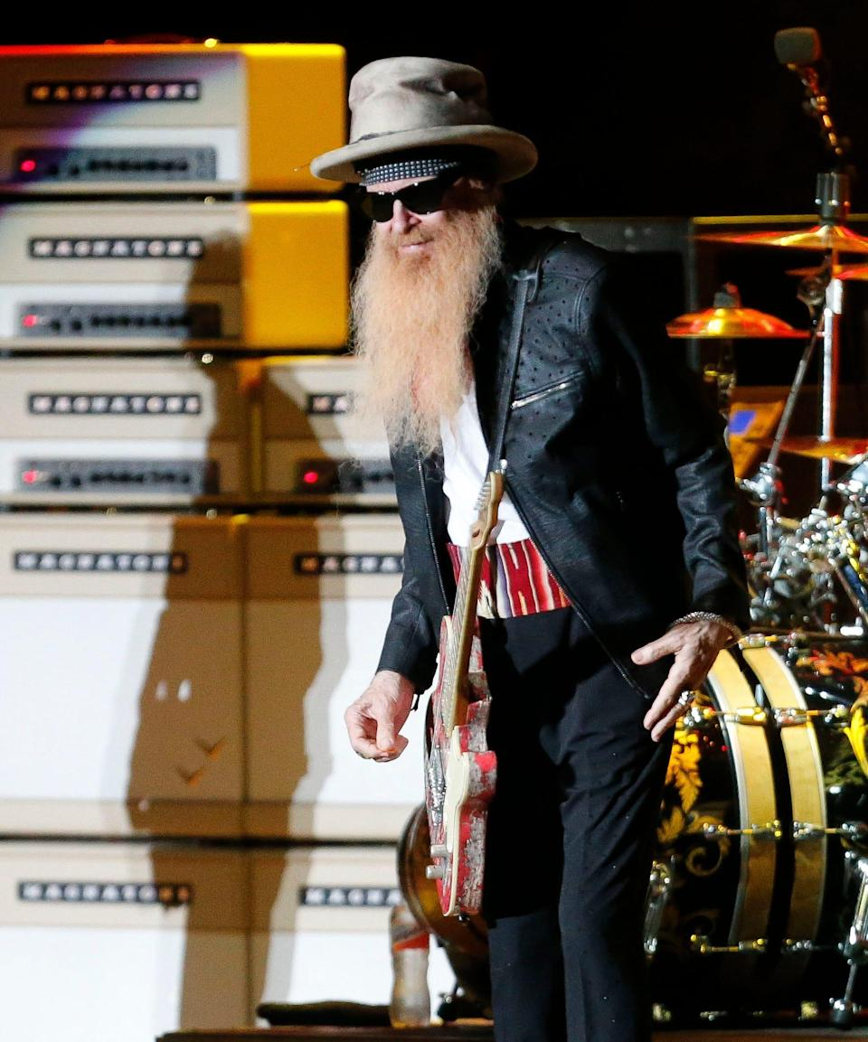 ZZ Top plays the Tuscaloosa Amphitheater Thursday, July 30, 2021, in Tuscaloosa, Ala., following the death of bass player Dusty Hill. Billy Gibbons plays guitar and does lead vocals during Friday night's concert. [Staff Photo/Gary Cosby Jr.]