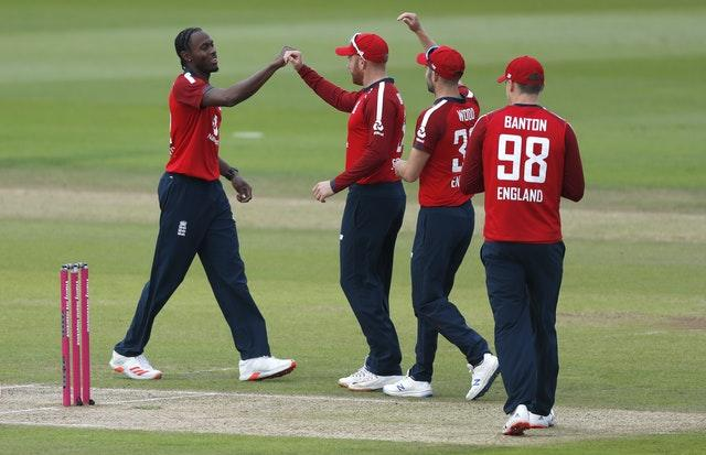 Jofra Archer (left) struck in the first over