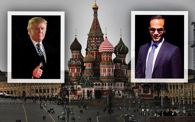 Donald Trump, Red Square, George Papadopoulos (Yahoo News photo illustration; photos: Mark Kauzlarich/Reuters, Spencer Platt/Getty Images, George Papadopoulos via Twitter)