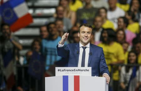 Head of the political movement En Marche !, or Onwards !, and candidate for the 2017 presidential election Macron, attends a campaign rally in Lyon