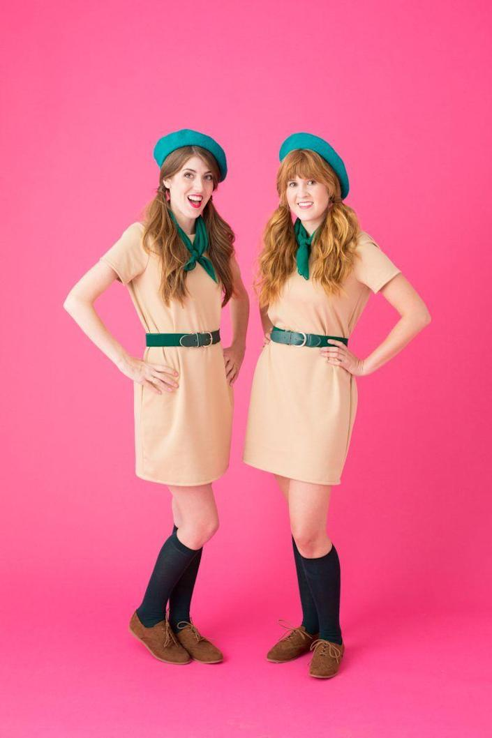 """<p>Beverly Hills, what a thrill! If you're a fan of the fun '80s flick, grab a gal pal or two and dress up as the girl scouts from Troop Beverly Hills. Whatever you do, don't get permed for the occasion. </p><p><strong>See more at <a href=""""https://studiodiy.com/diy-troop-beverly-hills-costume//"""" rel=""""nofollow noopener"""" target=""""_blank"""" data-ylk=""""slk:Studio DIY!"""" class=""""link rapid-noclick-resp"""">Studio DIY!</a>. </strong></p><p><a class=""""link rapid-noclick-resp"""" href=""""https://www.amazon.com/gp/product/B00X6L4QFK/ref=as_li_ss_tl?tag=syn-yahoo-20&ascsubtag=%5Bartid%7C2164.g.37115224%5Bsrc%7Cyahoo-us"""" rel=""""nofollow noopener"""" target=""""_blank"""" data-ylk=""""slk:SHOP GREEN BERETS"""">SHOP GREEN BERETS</a></p>"""