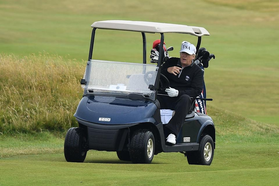 A campaign group is pushing for the 'McMafia Rule' to be implemented to investigate The Trump Organization's business dealings at golf courses in Scotland (Getty Images)