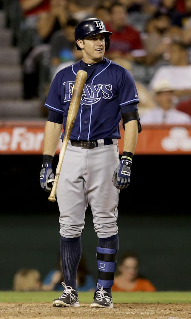 Tampa Bay Rays' Evan Longoria tosses his bat after striking out against the Los Angeles Angels during the seventh inning of a baseball game in Anaheim, Calif., Thursday, Sept. 5, 2013. (AP Photo/Chris Carlson)