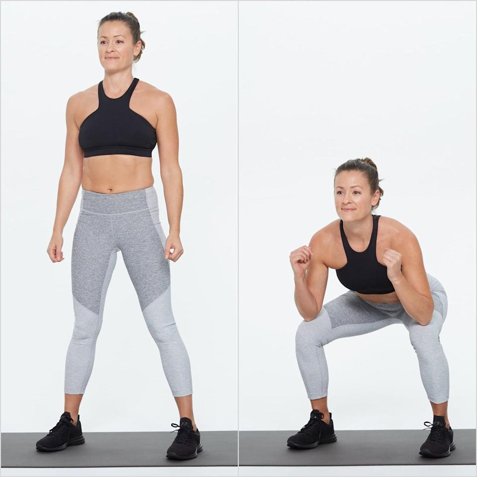 <ul> <li>Stand with your feet slightly wider than your shoulders, feet parallel or toes slightly turned out.</li> <li>Bend your knees, lowering your hips deeply. Bring your thighs parallel to the floor and bend your elbows, keeping weight back in your heels.</li> <li>Rise back up, straightening your legs completely, squeezing your glutes at the top of the movement to get the most out of the exercise.</li> <li>This counts as one rep.</li> <li>Complete 15 to 25 reps.</li> </ul>