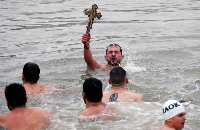 FILE PHOTO: Epiphany day celebrations by the Golden Horn in Istanbul