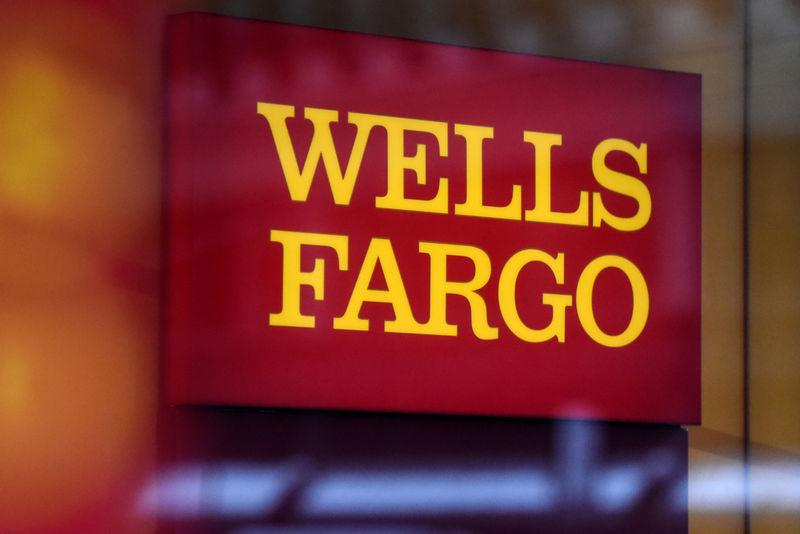 A Wells Fargo logo is seen in New York City