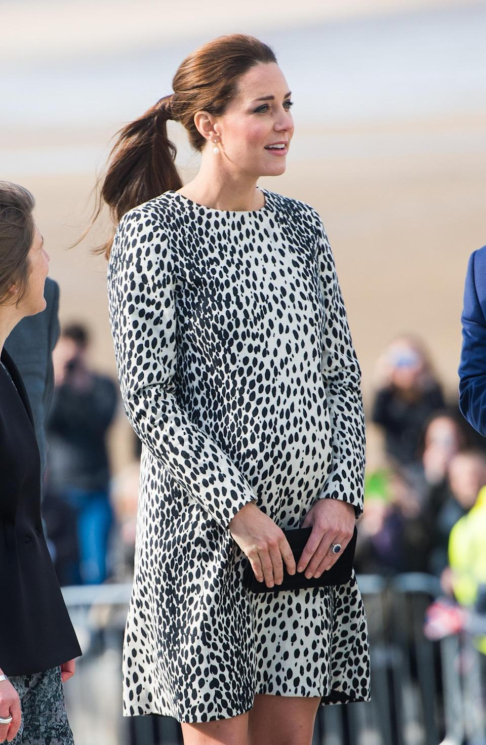<p>Catherine, Duchess of Cambridge, visits the Turner Contemporary Gallery wearing a leopard-print dress on March 11, 2015, in Margate, England. (Photo: Getty Images) </p>