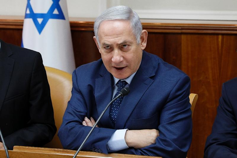 Israeli Prime Minister Benjamin Netanyahu warns over Iran's present in Syria at the weekly cabinet meeting on April 15, 2018