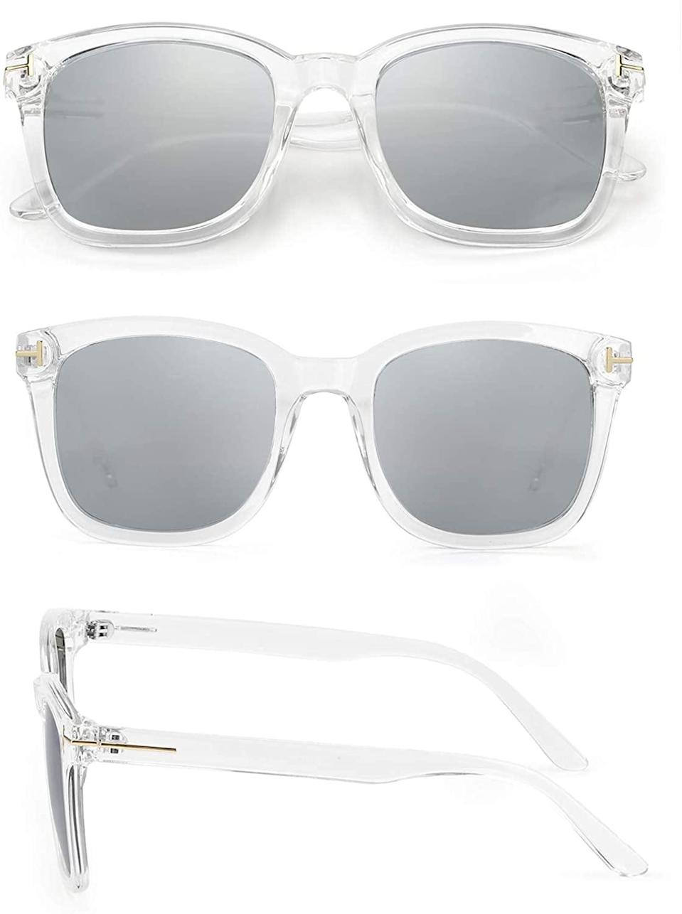 <p>These <span>Myiaur Clear Frame with Silver Mirrored Lenses Polarized Sunglasses</span> ($27) are simple but bold!</p>