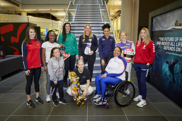 Team GB female athletes at the BBC Manchester launch of the Unlocked campaign - left to right: Georgina Roberts – Shooting, Marilyn Okoro – Athletics, Rachel Choong - Para Badminton, Siobhan Prior – Basketball, Lucy Adams – skateboard, Stacey Copeland – Boxer, Alice Dearing – Swimming, Alice Powell – Moto racing, Caitlin Beevers - Rugby League, Vanessa Wallace - Para Shot Put