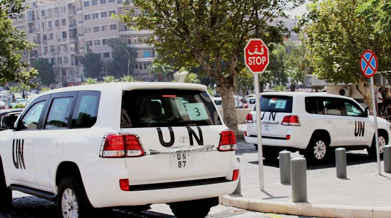 UN vehicles leave the Four Season Hotel in Damascus, Syria, Thursday, Aug. 29, 2013. U.N. experts investigating purported poison gas attacks left their Damascus hotel Thursday, but anti-regime activists said the team's destination was not immediately known. (AP Photo)