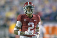 Alabama defensive back Patrick Surtain II (2) runs during an NCAA college football game against LSU in Baton Rouge, La., Saturday, Dec. 5, 2020. Surtain was selected to The Associated Press All-America first-team defense, Monday, Dec. 28, 2020. (AP Photo/Matthew Hinton)