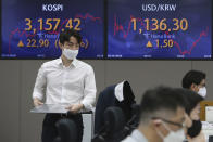 A currency trader walks near screens showing the Korea Composite Stock Price Index (KOSPI), left, and the foreign exchange rate between U.S. dollar and South Korean won at the foreign exchange dealing room of the KEB Hana Bank headquarters in Seoul, South Korea, Tuesday, May 18, 2021. Asian shares rose Tuesday, partly on bargain-hunting from the recent global market falls amid continuing pessimism about the coronavirus pandemic. (AP Photo/Ahn Young-joon)