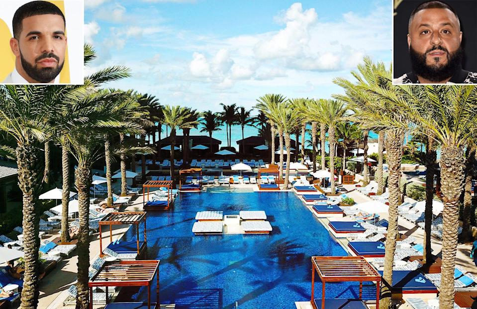 """<p><strong>Location:</strong> Paradise Island, Bahamas</p> <p>Both Drake and DJ Khaled spent a Memorial Day Weekend <a href=""""https://www.anrdoezrs.net/links/8029122/type/dlg/sid/PEOWheretoSpotaStaronVacationCelebFavoriteHotelsandResortsAcrosstheWorldhchubbTraGal12677272202104I/https://www.booking.com/hotel/bs/the-cove-atlantis.html"""" rel=""""sponsored noopener"""" target=""""_blank"""" data-ylk=""""slk:at the exclusive resort"""" class=""""link rapid-noclick-resp"""">at the exclusive resort</a>, which is part of the massive <a href=""""https://www.atlantisbahamas.com/"""" rel=""""nofollow noopener"""" target=""""_blank"""" data-ylk=""""slk:Atlantis compound"""" class=""""link rapid-noclick-resp"""">Atlantis compound</a>. The duo were spotted at The Cove's private pool and also spending time together at the on-site casino. Not to mention, this piece of paradise boasts suites with panoramic views of the ocean, a collection of restaurants and access to the highly Instagrammed Atlantis water slides.</p>"""