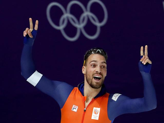 Speed Skating - Pyeongchang 2018 Winter Olympics - Men's 1000m competition finals - Gangneung Oval - Gangneung, South Korea - February 23, 2018 - Kjeld Nuis of the Netherlands reacts after the heat. REUTERS/Damir Sagolj TPX IMAGES OF THE DAY