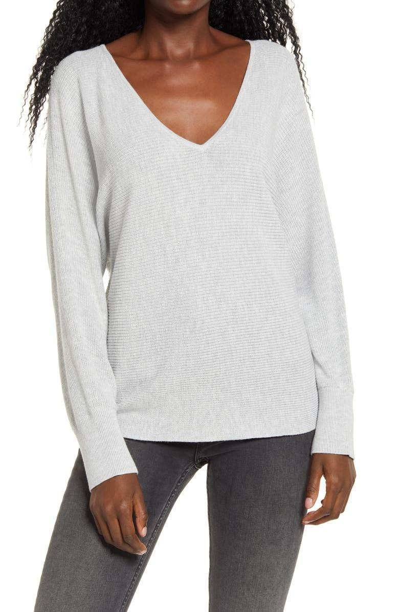 <p>This <span>Leith Dolman Sleeve V-Neck Sweater</span> ($30, originally $40) makes for a great layering piece.</p>