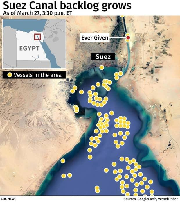 A snapshot of the maritime traffic backup on the Red Sea side of the Suez Canal as of Saturday.