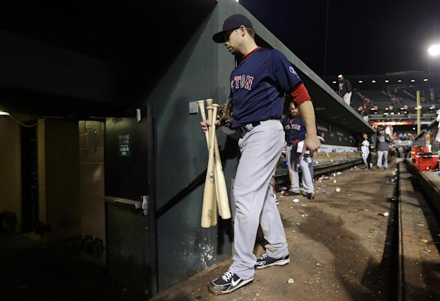 Boston Red Sox' Daniel Nava walks out of the dugout after a baseball game against the Baltimore Orioles, Saturday, Sept. 28, 2013, in Baltimore. Baltimore won 6-5. (AP Photo/Patrick Semansky)