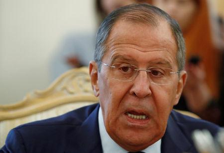 Russian Foreign Minister Lavrov attends a meeting with his Italian counterpart Moavero Milanesi in Moscow