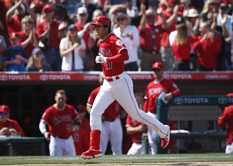 Los Angeles Angels' rookie Shohei Ohtani rounds the bases after homering against Cleveland Indians ace Corey Kluber. (AP)