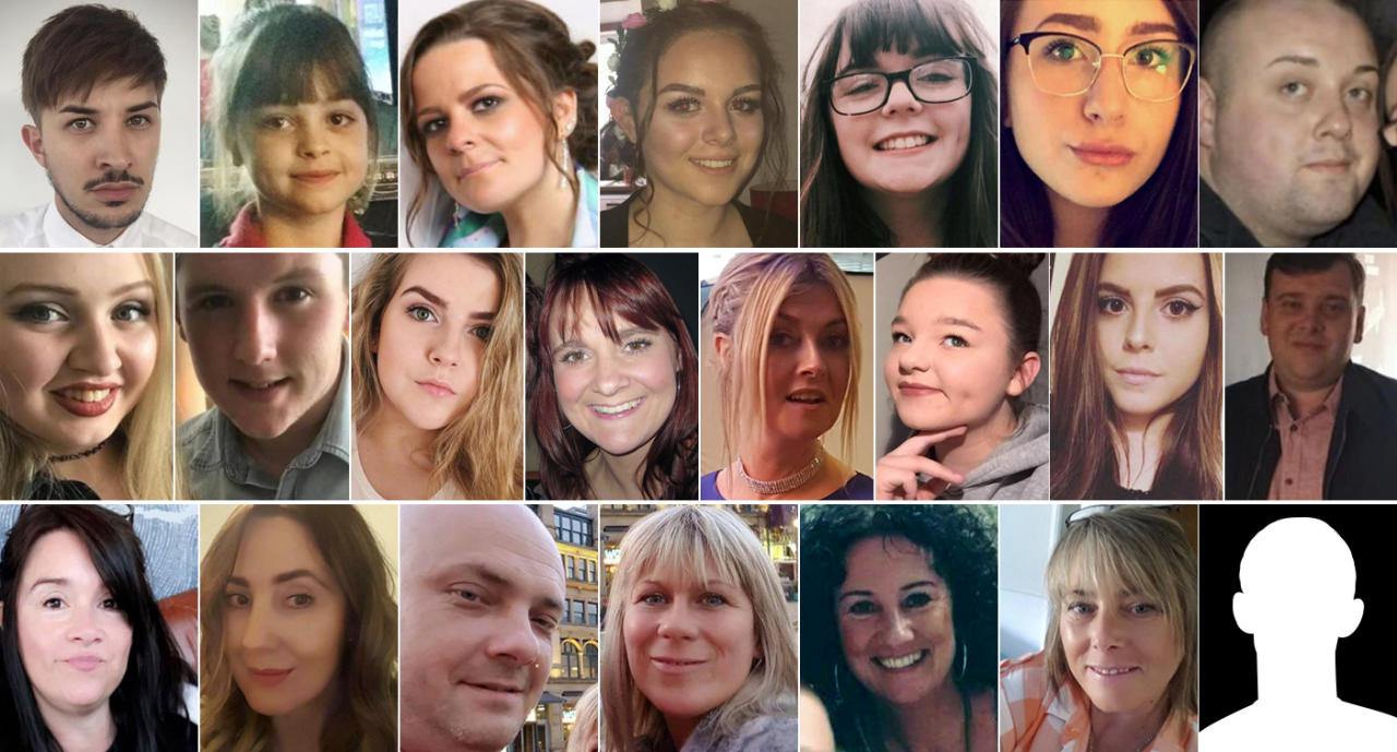 <p>Photos from top left: Martyn Hett via Facebook, PA via AP, Kelly Brewster via Facebook, Charlotte Campbell via Twitter, Georgina Callander via Instagram via Reuters, Hollie Webb via Facebook, Facebook, GMP via Twitter (3), GMP via AP, GMP via Twitter, Facebook, GMP via Twitter, Deborah Hutchinson via Facebook, Sasha Howe via Facebook (2), Alex Klis via Facebook (2), BBC News via Twitter, S. A. Taylor via Twitter. </p>
