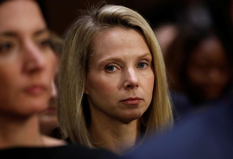 """Former Yahoo Chief Executive Marissa Mayer waits to testify before a Senate Commerce, Science and Transportation hearing on """"Protecting Consumers in the Era of Major Data Breaches"""" on Capitol Hill in Washington"""
