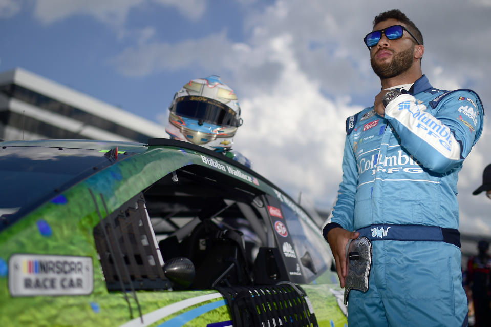 DOVER, DELAWARE - AUGUST 23: Bubba Wallace, driver of the #43 Columbia Chevrolet, waits on the grid prior to the NASCAR Cup Series Drydene 311 at Dover International Speedway on August 23, 2020 in Dover, Delaware. (Photo by Jared C. Tilton/Getty Images)