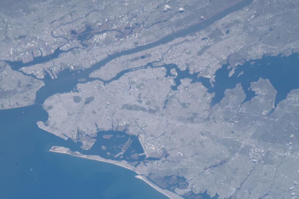 This photo of Earth from space, captured by an astronaut at the International Space Station, features the Greater New York City area, including parts of Westchester, Long Island and New Jersey. An Expedition 63 crewmember captured this view of the Big Apple from approximately 257 miles (413 kilometers) overhead on April 28, 2020.