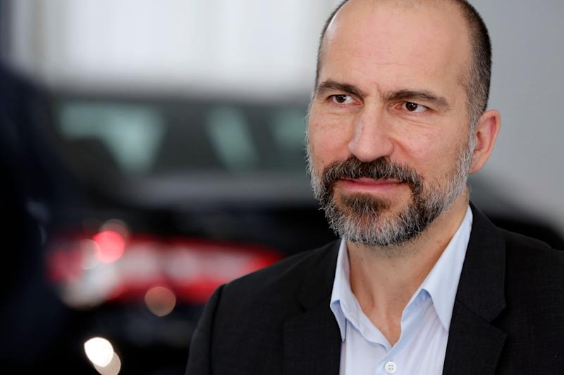 Uber CEO Dara Khosrowshahi listens during an interview after the company's unveiling of the new features in New York, Wednesday, Sept. 5, 2018. (AP Photo/Richard Drew)