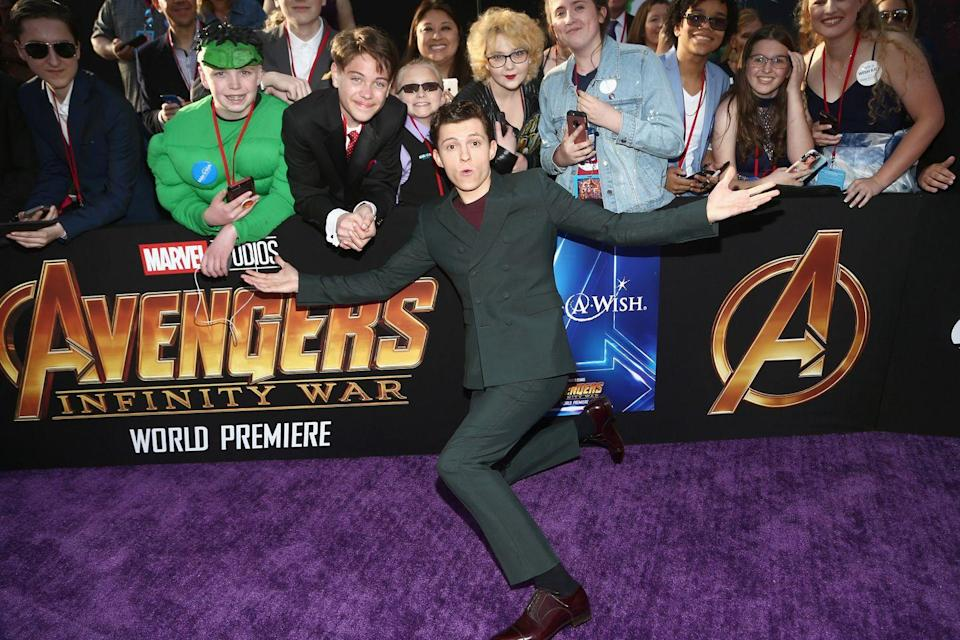 <p>Tom Holland attends the Los Angeles Global Premiere for <em>Avengers: Infinity War</em> on April 23, 2018 in Hollywood, California.</p>