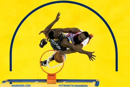 May 22, 2018; Oakland, CA, USA; Houston Rockets guard James Harden (13) dunks the basketball against Golden State Warriors forward Draymond Green (23) during the first half in game four of the Western conference finals of the 2018 NBA Playoffs at Oracle Arena. Mandatory Credit: Kyle Terada-USA TODAY Sports