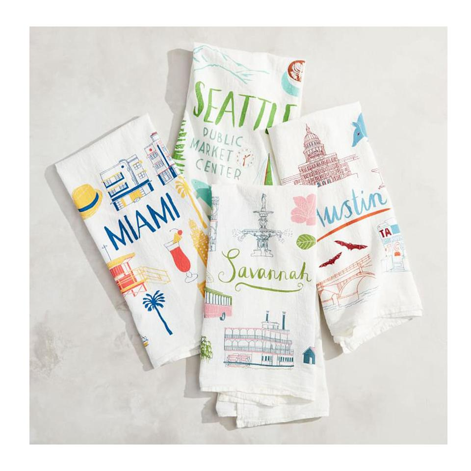 <p>Gift your loved one a personalized tea towel (or two) that will look beautiful in their home and show off their city pride—or help bring back memories of a fantastic trip.</p>