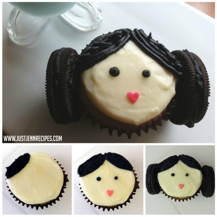 ThesePrincess Leia cupcakeswith Oreo hair buns are a cute tribute to Carrie Fisher.
