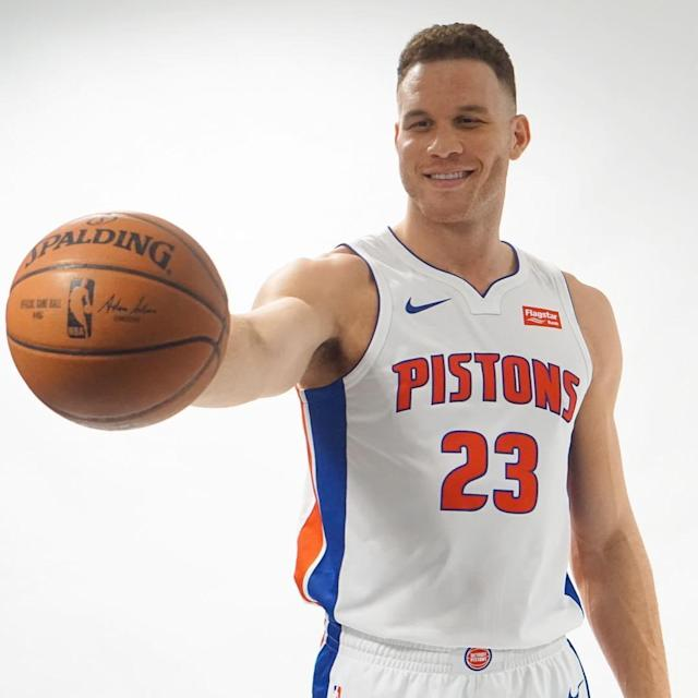 Blake Griffin's got a new team, a new uniform and a new number. (Photo via @DetroitPistons)