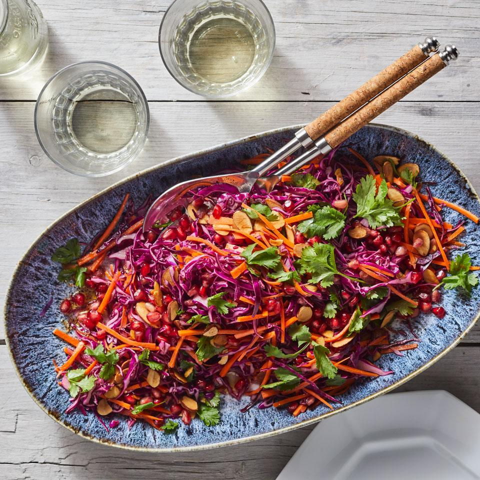 <p>Honey helps balance out the harshness of cruciferous cabbage in this fresh and crunchy slaw recipe. The colors in this easy-to-make salad are enough to brighten one's spirits. In fact, research shows that simply looking at purple plants can fire up neurons that help us relax, so take a moment to appreciate this beautiful salad before you dig in.</p>